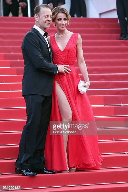 Rocco Siffredi and Rozsa Tassi attends the Money Monster premiere during the 69th annual Cannes Film Festival at the Palais des Festivals on May 12...