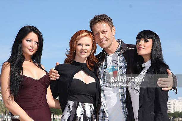 Rocco Siffredi And 'The Dorcel Girls' attend the 'Marc Dorcel TV 5th anniversary' photocall during the MIPTV 2011 at Hotel Majestic beach on April 5...