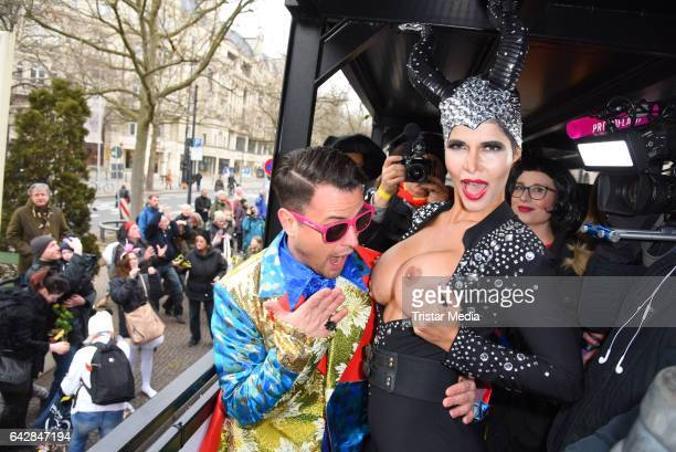 Rocco Stark and Micaela Schaefer attend the Berlin Carnival Parade on February 19, 2017 in Berlin, Germany.