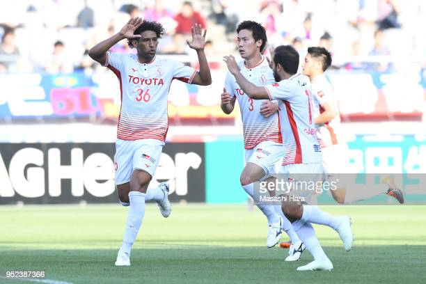 Rocha of Nagoya Grampus celebrates the second goal during the JLeague J1 match between FC Tokyo and Nagoya Grampus at Ajinomoto Stadium on April 28...