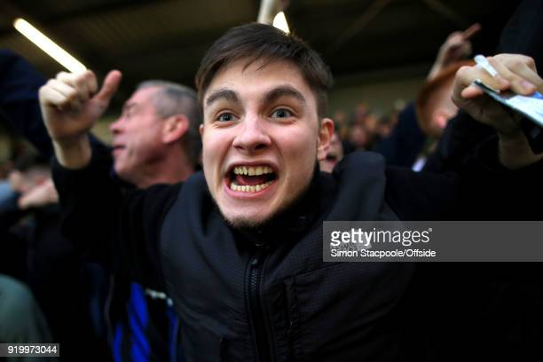 Rochdale fans celebrate during The Emirates FA Cup Fifth Round match between Rochdale AFC and Tottenham Hotspur at Spotland Stadium on February 18...