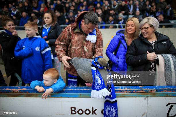 Rochdale fans display their lucky duck mascot ahead of The Emirates FA Cup Fifth Round match between Rochdale AFC and Tottenham Hotspur at Spotland...