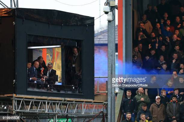 Rochdale fans let off a blue flare next to the BBC Match Of The Day studio during The Emirates FA Cup Fifth Round match between Rochdale AFC and...
