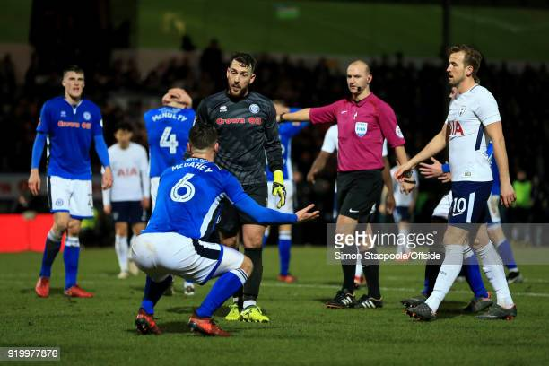 Rochdale goalkeeper Josh Lillis questions teammate Harrison McGahey of Rochdale after a penalty was awarded during The Emirates FA Cup Fifth Round...