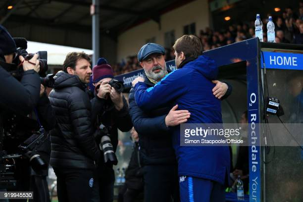 Rochdale manager Keith Hill hugs Spurs manager Mauricio Pochettino before The Emirates FA Cup Fifth Round match between Rochdale AFC and Tottenham...