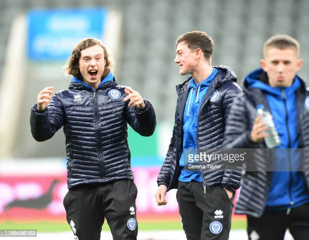 Rochdale players before the FA Cup Third Round Replay match between Newcastle United and Rochdale AFC at St James Park on January 14 2020 in...