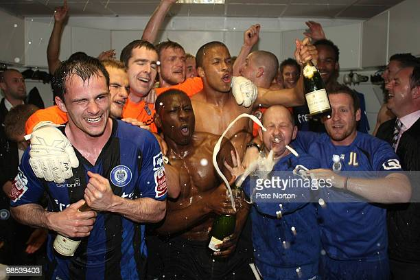Rochdale players celebrate in the dressing room as they gain promotion for the first time in 41 years at the end of the Coca Cola League Two Match...