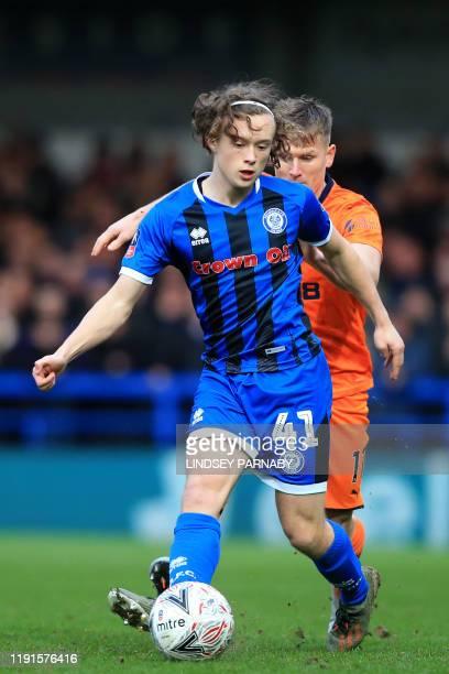 Rochdale's English defender Luke Matheson vies with Newcastle United's Scottish midfielder Matt Ritchie during the English FA Cup third round...