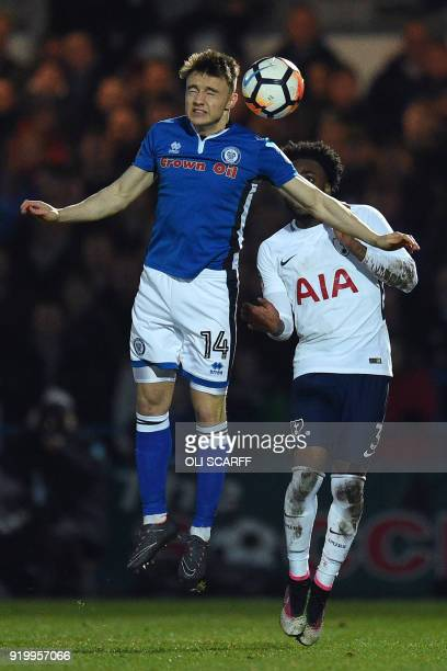 Rochdale's English midfielder Oliver Rathbone vies with Tottenham Hotspur's English defender Danny Rose during the English FA Cup fifth round...