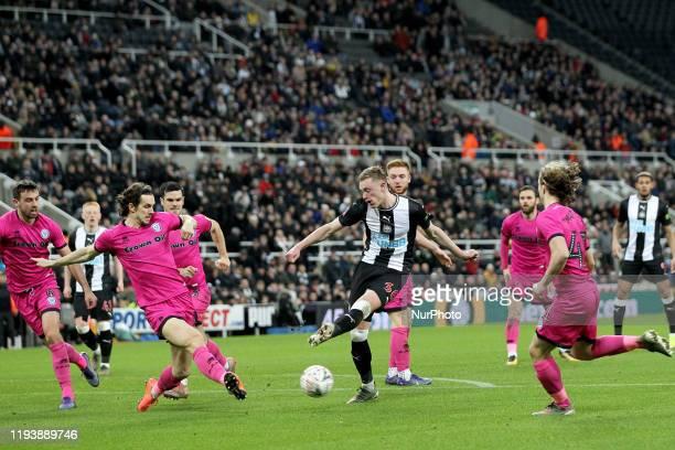 Rochdale's Jordan Williams blocks a shot from Newcastle United's Sean Longstaff during the FA Cup match between Newcastle United and Rochdale at St...