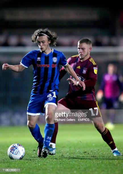Rochdale's Luke Matheson and Ipswich Town's Danny Rowe Rochdale v Ipswich Town - Sky Bet League One - Crown Oil Arena .