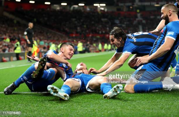 Rochdale's Luke Matheson celebrates scoring his side's first goal of the game during the Carabao Cup, Third Round match at Old Trafford, Manchester.