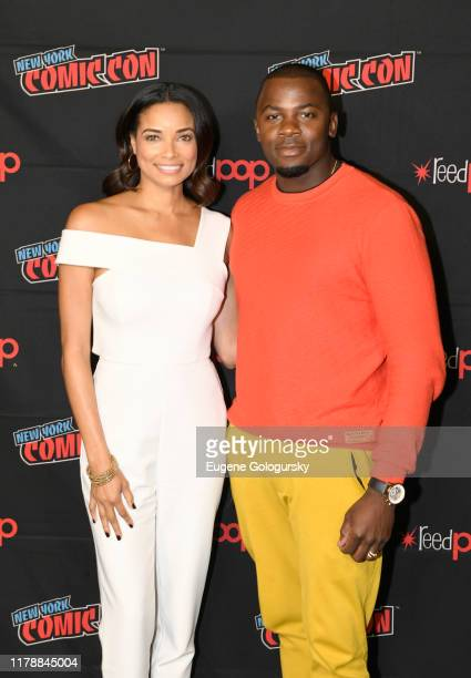 Rochelle Aytes and Derek Luke pose for a photo after the USA's The Purge Premiere Screening and Panel the New York Comic Con at Jacob K. Javits...