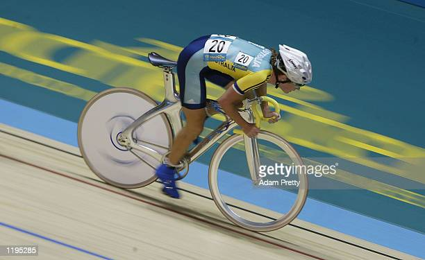 Rochelle Gilmore of Australia on her way to winning the Silver medal in the Women's 25 km Points Race Final at the National Cycling Centre during the...