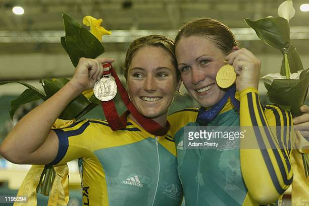 Rochelle Gilmore of Australia Silver and Katherine Bates of Australia Gold in the Women's 25 km Points Race Final at the National Cycling Centre...