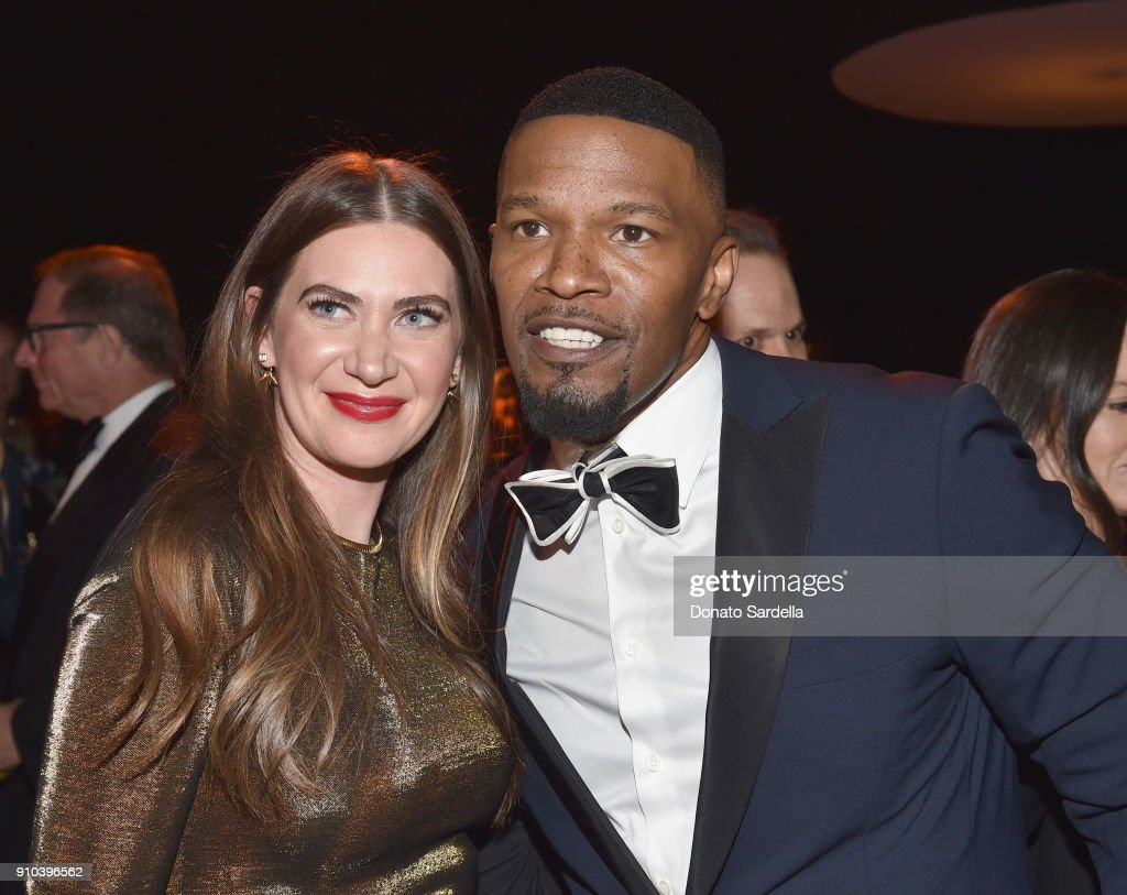 Rochelle Gores Fredston (L) and Jamie Foxx attend Learning Lab Ventures Gala in Partnership with NET-A-PORTER on January 25, 2018 in Beverly Hills, California.