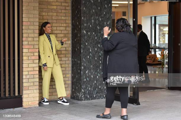 Rochelle Humes and Alison Hammond seen taking photos at the ITV Studios on February 25, 2020 in London, England.