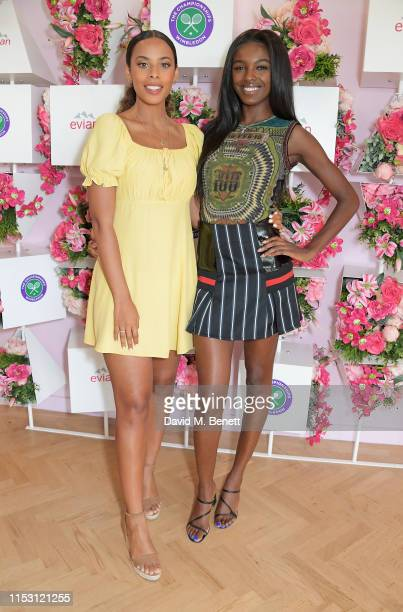 Rochelle Humes and Leomie Anderson attend the evian Live Young suite at The Championships, Wimbledon 2019 on July 1, 2019 in Wimbledon, England.