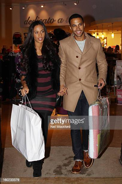 Rochelle Humes and Marvin Humes are pictured shopping for baby items at Mamas and Papas on January 28 2013 in Watford England