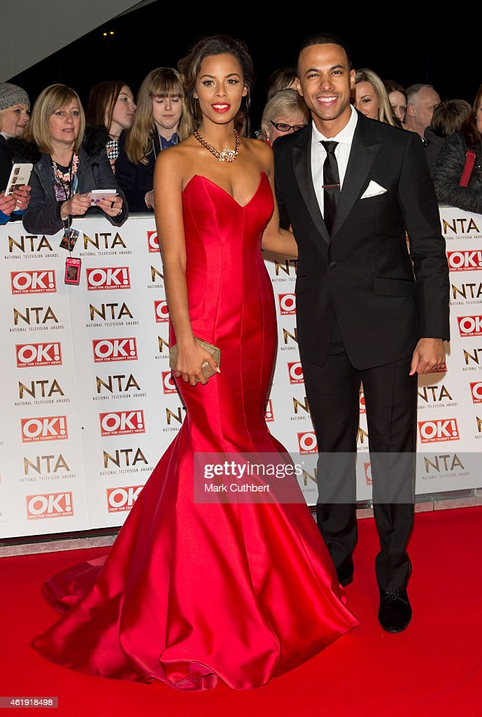 Rochelle Humes and Marvin Humes attend the National Television Awards at 02 Arena on January 21, 2015 in London, England.