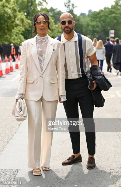 Rochelle Humes and Marvin Humes attend Wimbledon Championships Tennis Tournament at All England Lawn Tennis and Croquet Club on July 01, 2021 in...