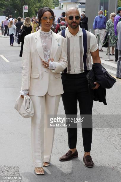 Rochelle Humes and Marvin Humes attend Wimbledon Championships Tennis Tournament Day 4 at All England Lawn Tennis and Croquet Club on July 01, 2021...