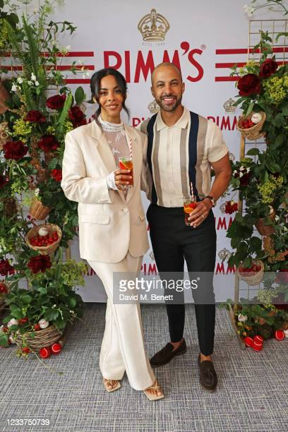 Rochelle Humes and Marvin Humes enjoy PIMM'S No 1 hospitality at The Championships, Wimbledon on July 1, 2021 in London, England.