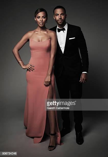Rochelle Humes and Marvin Humes pose in the Portrait Studio during the 21st National Television Awards at The O2 Arena on January 20 2016 in London...