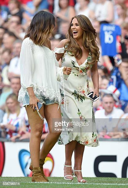 Rochelle Humes and Vicky Pattison attend Soccer Aid 2016 at Old Trafford on June 5 2016 in Manchester United Kingdom