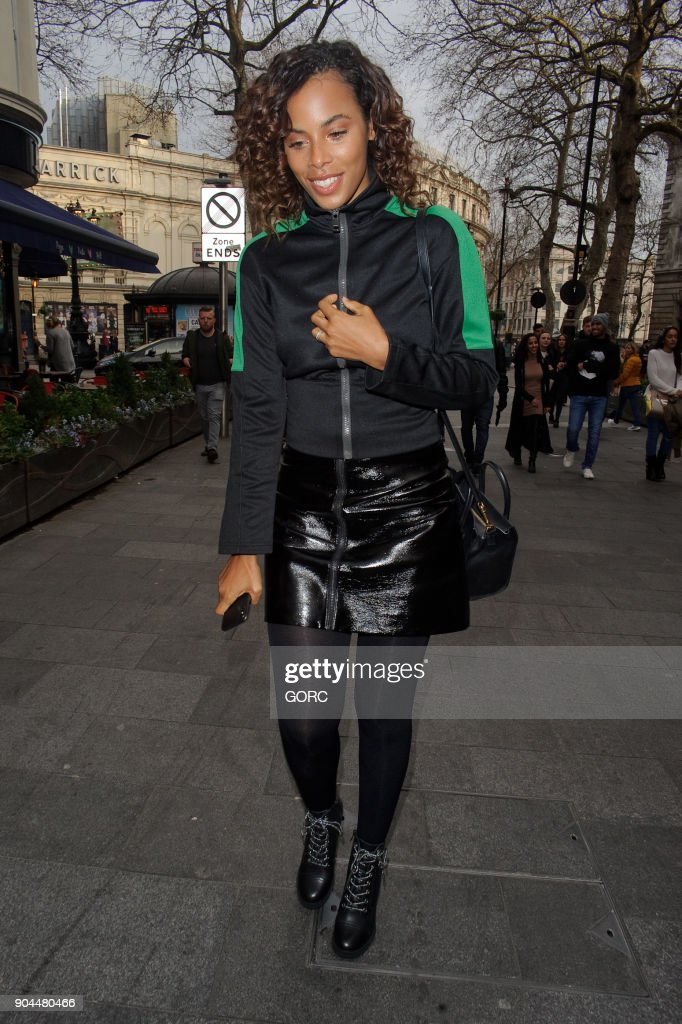Rochelle Humes arriving at Capital FM for her new job on January 13, 2018 in London, England.