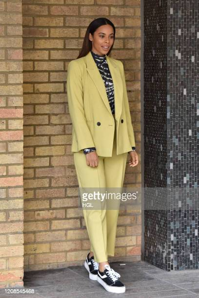 Rochelle Humes at the ITV Studios on February 25, 2020 in London, England.