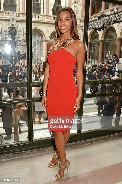 Rochelle Humes attends the Julien Macdonald show during London Fashion Week Fall/Winter 2015/16 at British Foreign and Commonwealth Office on...