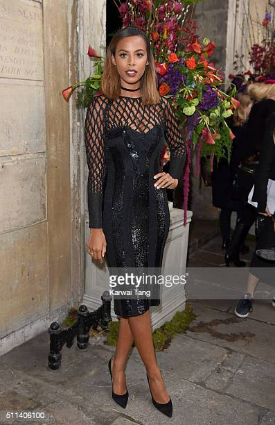 Rochelle Humes attends the Julien Macdonald show during London Fashion Week Autumn/Winter 2016/17 at One Mayfair on February 20 2016 in London England
