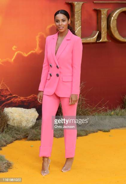 """Rochelle Humes attends """"The Lion King"""" European Premiere at Leicester Square on July 14, 2019 in London, England."""