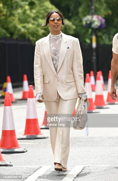 Rochelle Humes attends the Wimbledon Championships at All England Lawn Tennis and Croquet Club on July 01, 2021 in London, England.