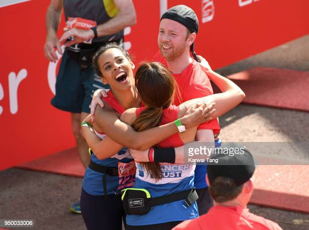 Rochelle Humes crosses the finish line at the Virgin Money London Marathon on April 22 2018 in London England