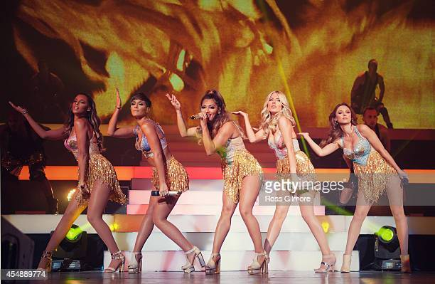 Rochelle Humes Frankie Sandford Vanessa White Mollie King and Una Healy of The Saturdays perform on stage at Clyde Auditorium on September 7 2014 in...