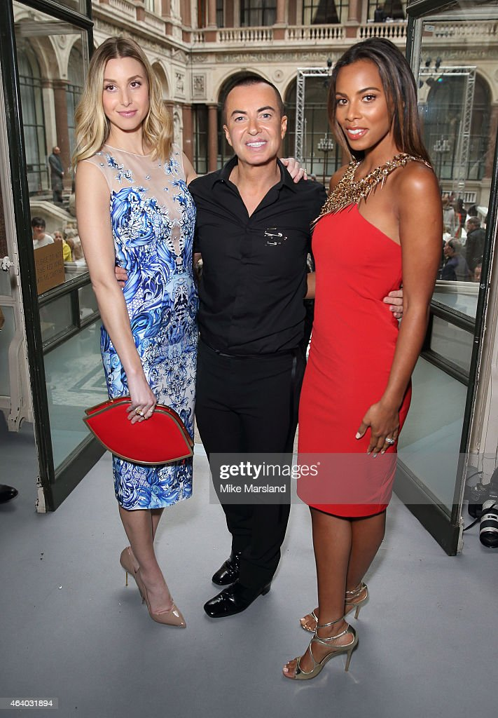 Rochelle Humes, Julien Macdonald and Whitney Port attend the Julien Macdonald show during London Fashion Week Fall/Winter 2015/16 on February 21, 2015 in London, United Kingdom.