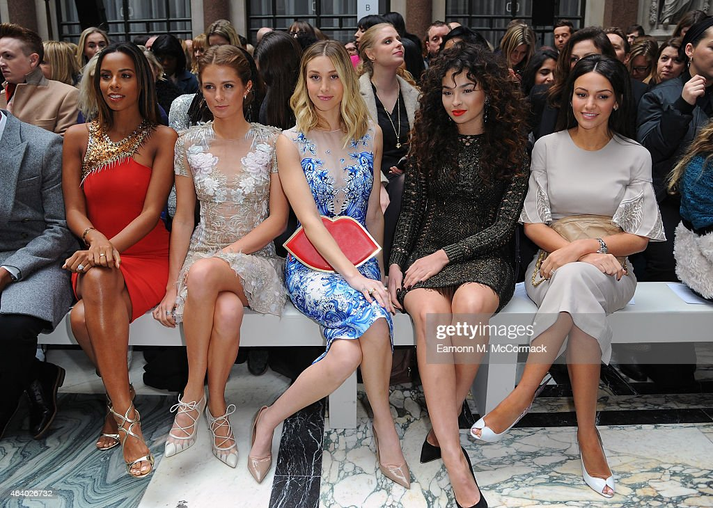 Rochelle Humes, Millie Mackintosh, Whitney Port, Ella Eyre and Michelle Keegan attend the Julien Macdonald show during London Fashion Week Fall/Winter 2015/16 on February 21, 2015 in London, England.