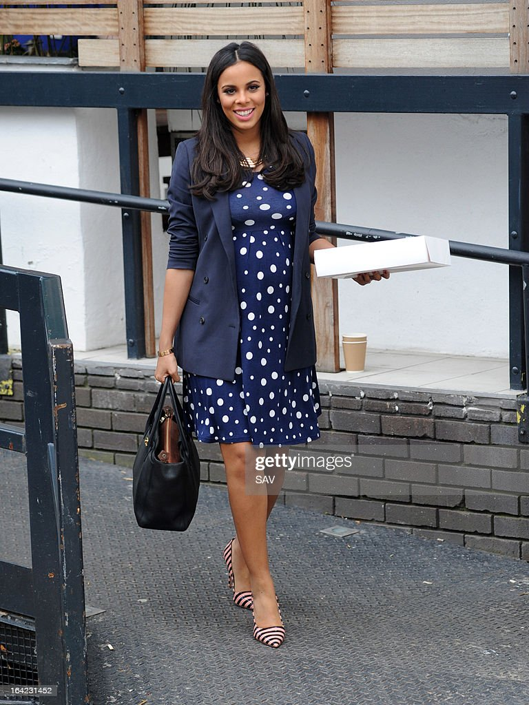 Rochelle Humes pictured leaving the ITV studios on March 21, 2013 in London, England.