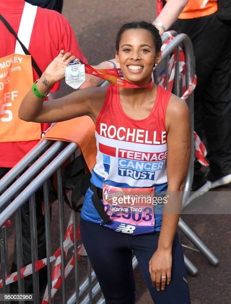 Rochelle Humes poses for the photographers after completing the Virgin Money London Marathon on April 22 2018 in London England