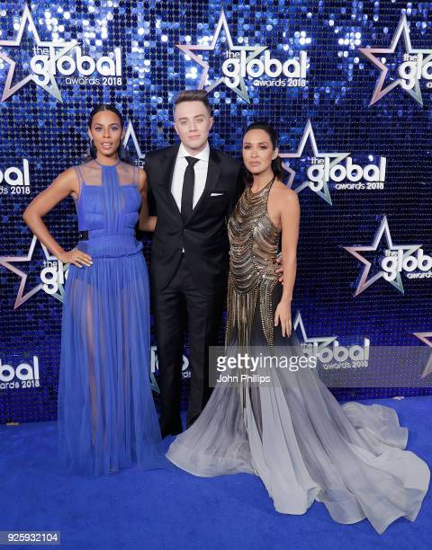 Rochelle Humes Roman Kemp and Myleene Klass attend The Global Awards 2018 at Eventim Apollo Hammersmith on March 1 2018 in London England