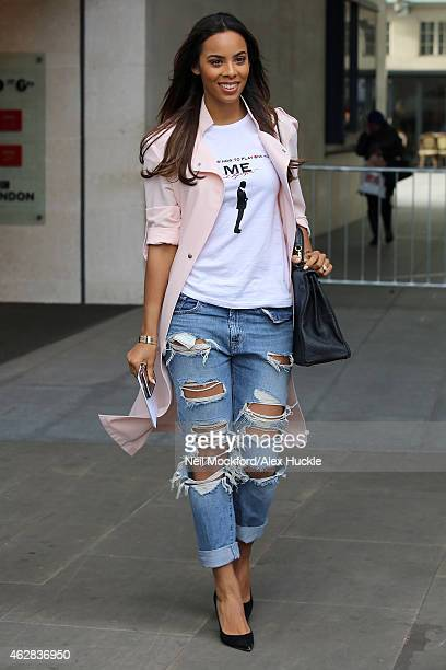 Rochelle Humes seen at BBC Radio One on February 6 2015 in London England
