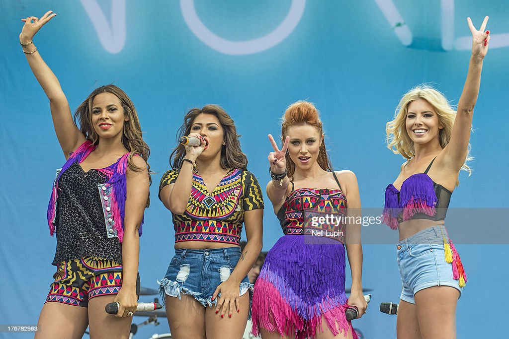 Rochelle Humes, Vanessa White, Una Healey and Mollie King of The Saturdays perform on day 2 of the V Festival at Hylands Park on August 18, 2013 in Chelmsford, England.