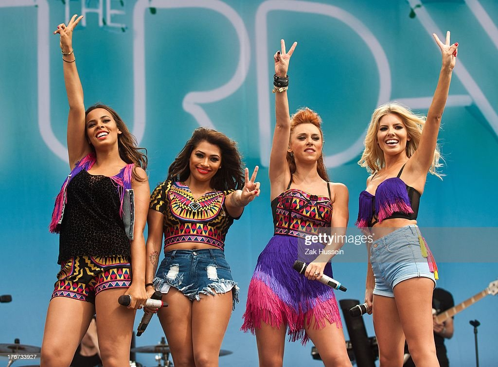 Rochelle Humes, Vanessa White, Una Healy and Mollie King of The Saturdays perform on day 2 of the V Festival at Hylands Park on August 18, 2013 in Chelmsford, England.