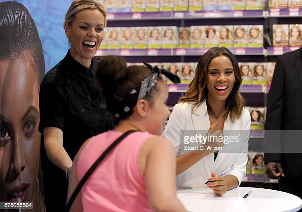 Rochelle Humes with a fan and make up artist Caroline Barnes as she appears exclusively in Superdrug Lakeside for her next look with Max Factor 'Pool...