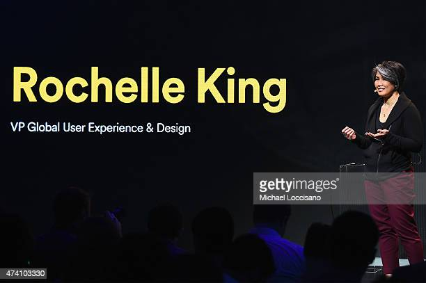 Rochelle King VP Global User Experience and Design Spotify speaks onstage at Spotify Press Announcement on May 20 2015 in New York City