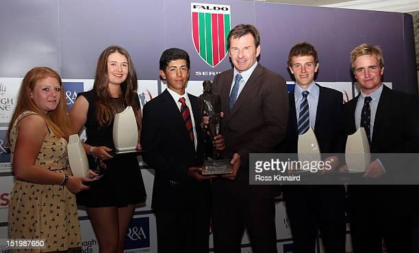 Rochelle Morris of England, Katarina Chovancova of Slovakia, Jack Singh-Brar of England, Sir Nick Faldo, Ewan Scott of Scotland and Robbie Busher of...