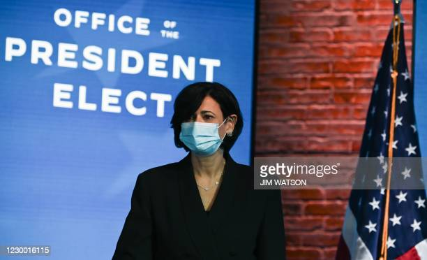 Rochelle Walensky, who has been nominated to serve as director of the Centers for Disease Control and Prevention, looks on before President-elect Joe...