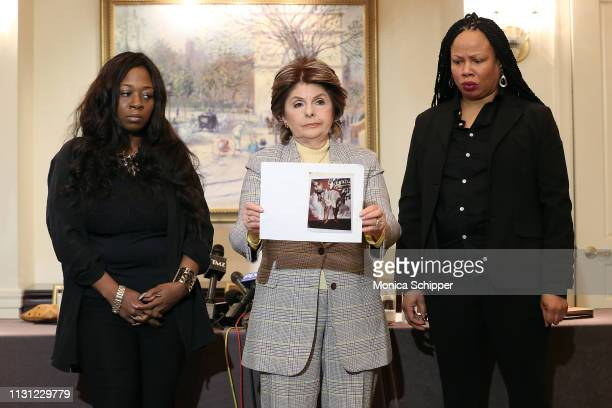 Rochelle Washington, attorney Gloria Allred and Latresa Scaff display photos taken on the night they are discussing at the press conference as two...